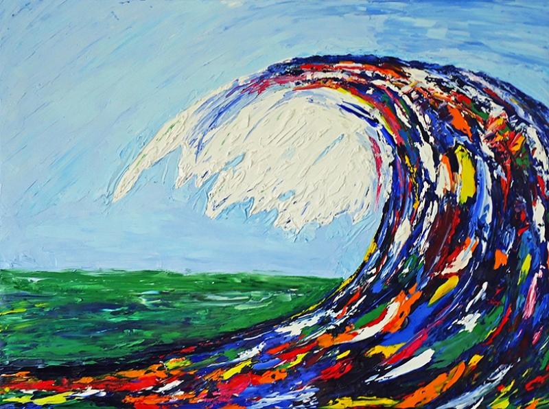 Life İs Wave Nicholas Vitale Yağlı Boya Sanat Kanvas Tablo