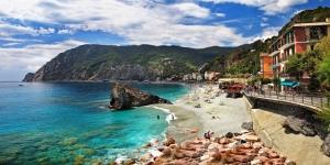 Liguria Sahil Kumsal Plaj Deniz İtalya Doğa Manzaraları Kanvas Tablo