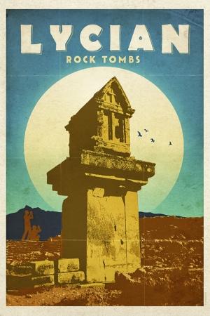 Likya Kaya Mezarı Şehirler Kanvas Tablo