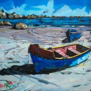 Liman ve Sahildeki Renkli Kayıklar 3 Dekoratif Kanvas Tablo