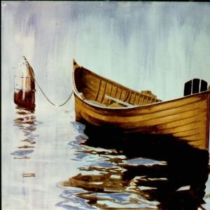 Liman ve Sahildeki Renkli Kayıklar 4 Dekoratif Kanvas Tablo