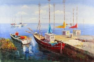 Limandaki Balıkçı Tekneleri 10 Deniz Şehir Doğa Manzaraları Kanvas Tablo