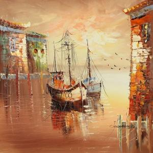 Limandaki Balıkçı Tekneleri 13 Dekoratif Kanvas Tablo