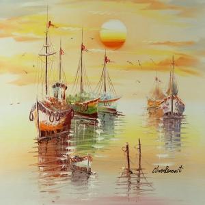 Limandaki Balıkçı Tekneleri 14 Dekoratif Kanvas Tablo