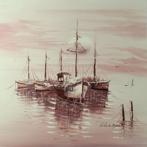 Limandaki Balıkçı Tekneleri 15 Dekoratif Kanvas Tablo