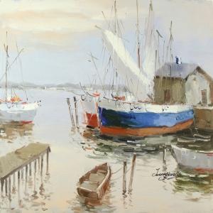 Limandaki Balıkçı Tekneleri 16 Dekoratif Kanvas Tablo