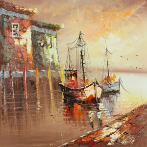 Limandaki Balıkçı Tekneleri 17 Dekoratif Kanvas Tablo