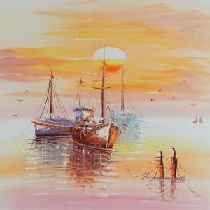 Limandaki Balıkçı Tekneleri 18 Dekoratif Kanvas Tablo