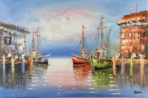 Limandaki Balıkçı Tekneleri 3 Deniz Şehir Doğa Manzaraları Kanvas Tablo