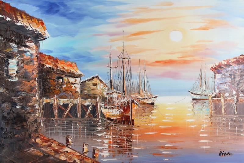 Limandaki Balıkçı Tekneleri 4Deniz Şehir Doğa Manzaraları Kanvas Tablo
