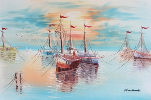 Limandaki Balıkçı Tekneleri 5 Deniz Şehir Doğa Manzaraları Kanvas Tablo
