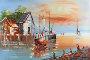 Limandaki Balıkçı Tekneleri 8 Deniz Şehir Doğa Manzaraları Kanvas Tablo