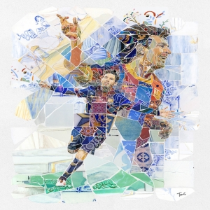 Lionel Messi-4 Mozaik İllustrasyon Kanvas Tablo