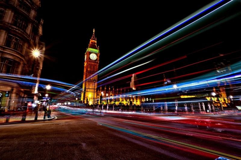 Londra Gece Işılar Dünyaca Ünlü Şehirler Kanvas Tablo