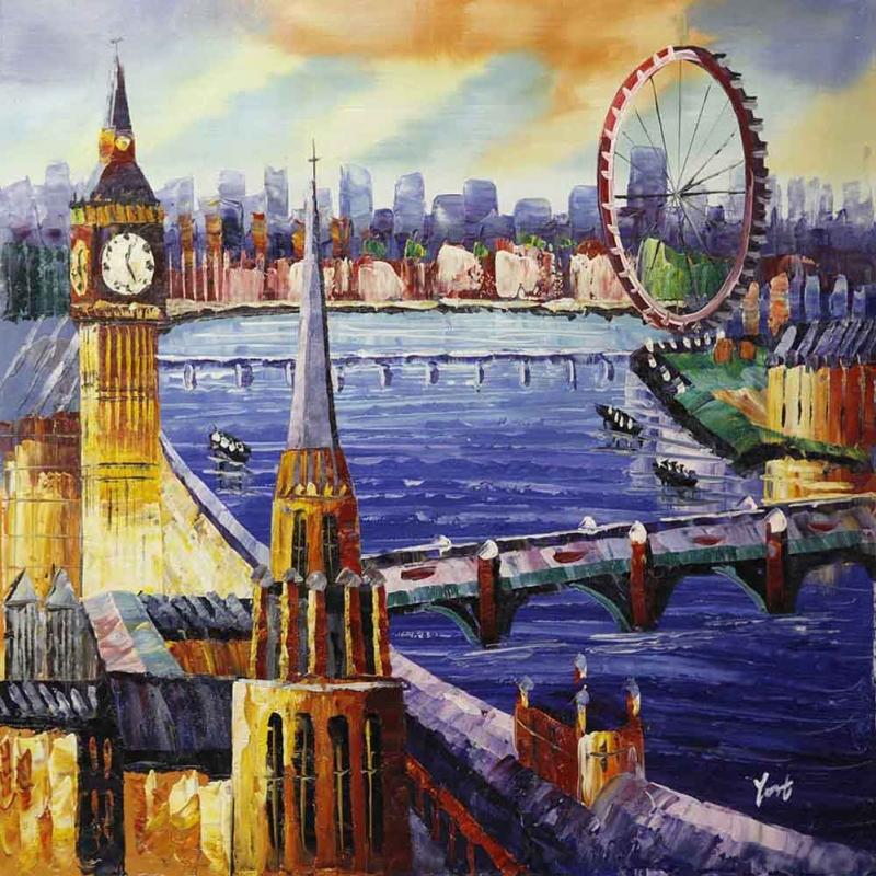 Londra İngiltere Şehir Manzarası Modern Sanat Kanvas Tablo