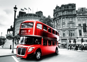 Londra Kırmızı Otobüs Dünyaca Ünlü Şehirler Kanvas Tablo