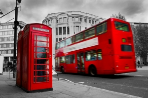 Londra Kırmızı Telefon Kulubesi ve Otobüs Dünyaca Ünlü Şehirler Kanvas Tablo