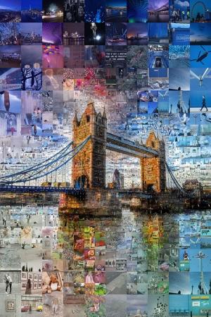 Londra Köprüsü Mozaik İllustrasyon Kanvas Tablo