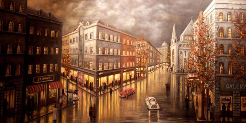 Londra Sokak Manzarası Yağlı Boya Sanat Kanvas Tablo