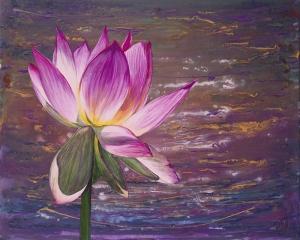 Lotus Çiçeği Floral Yağlı Boya Sanat Kanvas Tablo