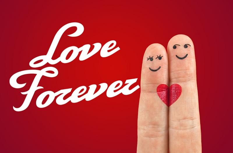 Love Forever Parmak Kalp Aşk & Sevgi Kanvas Tablo