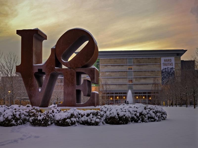 Love Heykel Gün Batımı ve Kar Aşk & Sevgi Kanvas Tablo