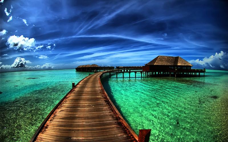 Maldivler, Bambu Evler ve Deniz Kanvas Tablo