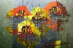 Malezya Su Üstündeki Evler, Manzara-1 Modern Sanat Kanvas Tablo