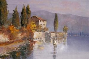 Mandello Del Lario İtalya, Doğa, Göl Manzarası Kanvas Tablo