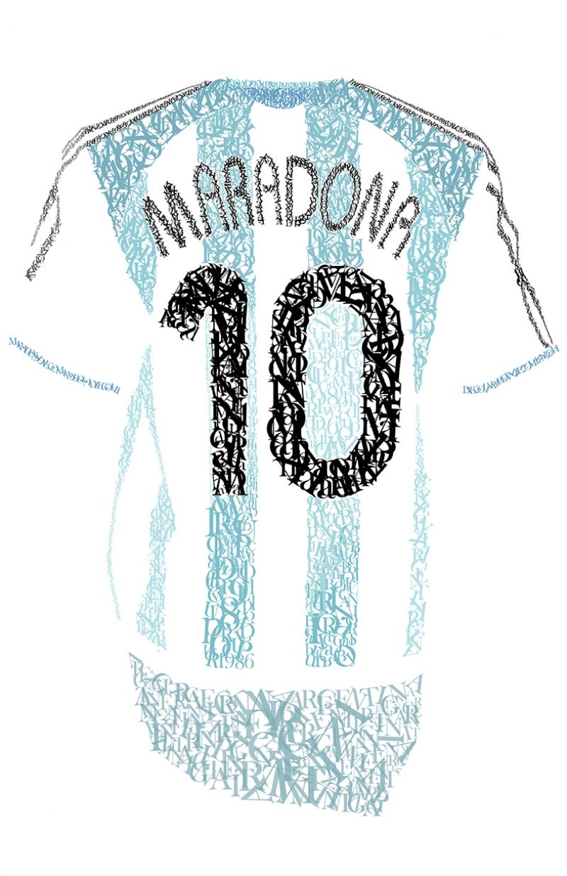 Maradona 10 Forma Typografi Spor Kanvas Tablo