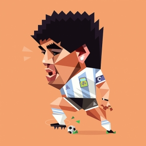 Maradona İllustrasyon Futbol Spor Kanvas Tablo