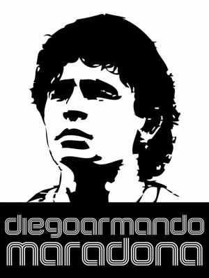 Maradona İllustrasyon Siyah Beyaz Spor Kanvas Tablo