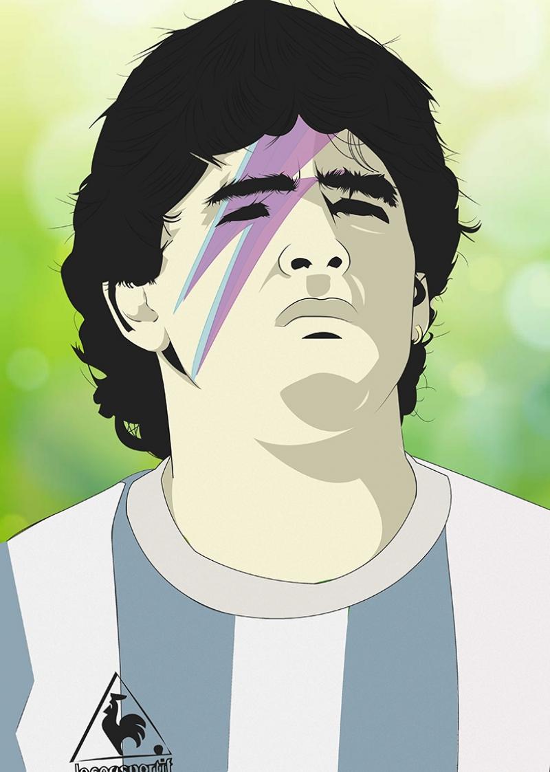 Maradona Portre İllustrasyon Spor Kanvas Tablo