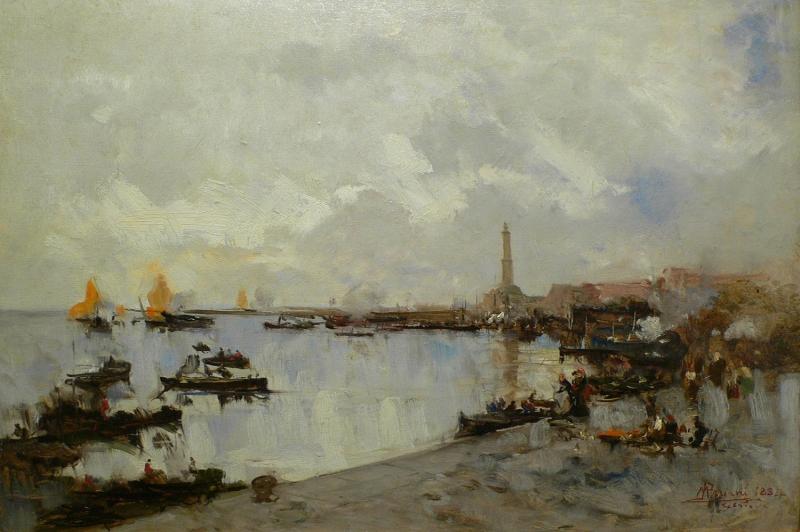 Mariani Genova Limani Yagli Boya Klasik Sanat Kanvas Tablo
