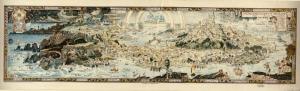 Masallar Ulkesi Ilustrasyon Cizim Eski Harita Cografya Kanvas Tablo
