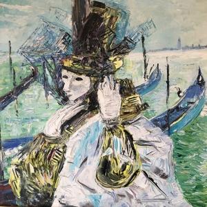 Maskelerin Ardında-1, Venedik, İtalya Modern Sanat Kanvas Tablo