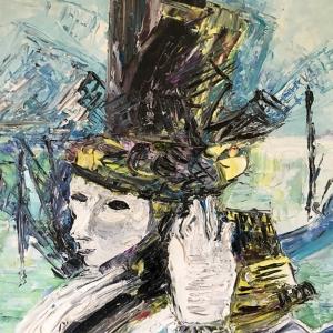 Maskelerin Ardında-2, Venedik, İtalya Modern Sanat Kanvas Tablo