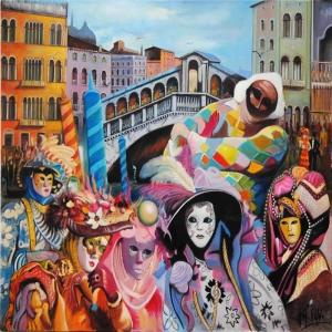 Mauro Puppo Venedik Karnavalı Manzara Sanat Kanvas Tablo