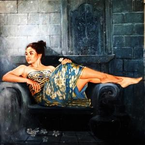 Mavi Altın Güzelliği Josephine Linggar-1 Klasik Sanat  Kanvas Tablo