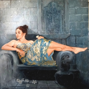 Mavi Altın Güzelliği Josephine Linggar-1a Klasik Sanat Kanvas Tablo