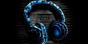 Mavi Büyük Kulaklık Dijital Fantastik Kanvas Tablo