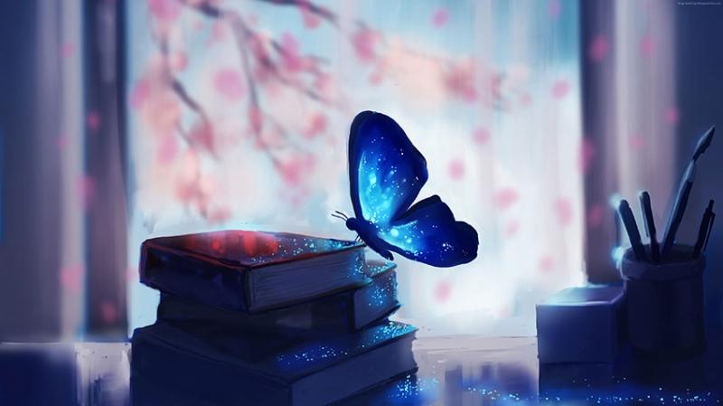 Mavi Kelebek Hayvanlar Kanvas Tablo