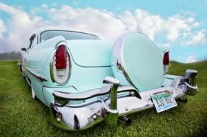 Mavi Klasik Otomobil Araçlar Kanvas Tablo