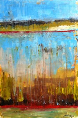 Mavi Nehir 1 Soyut Yağlı Boya Abstract Kanvas Tablo
