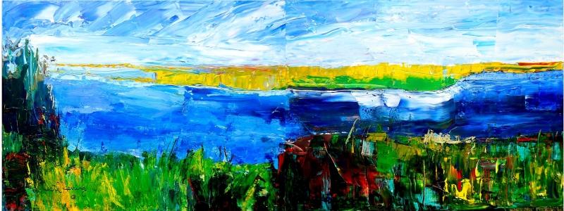 Mavi Nehir 2 Soyut Yağlı Boya Abstract Kanvas Tablo