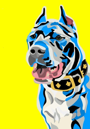 Mavi Pitbull Popüler Kültür Kanvas Tablo