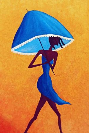 Mavi Şemsiyeli Kadın Modern Kanvas Tablo