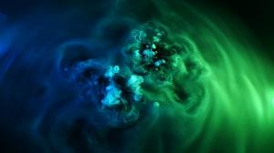 Mavi Yeşil Duman Fotoğraf Kanvas Tablo