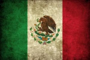 Meksika Bayrağı, Eskitilmiş Retro Meksika Bayrağı Kanvas Tablo