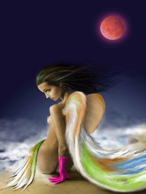 Melek Kız Fantastik Yağlı Boya Sanat Kanvas Tablo